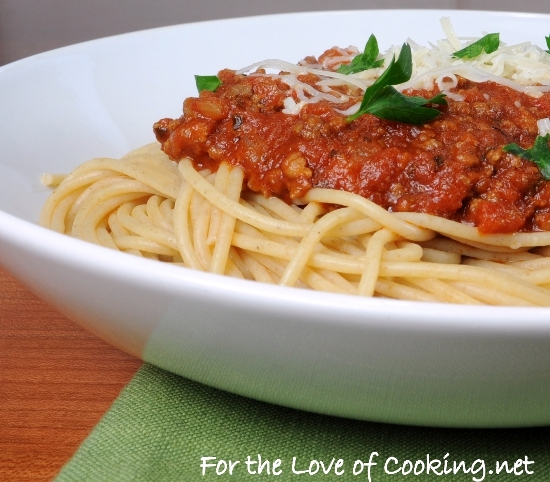 Whole Wheat Spaghetti with a Slow Simmered Meat Sauce | For the Love ...