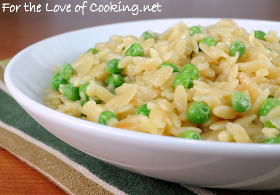Orzo with Peas and Parmesan | For the Love of Cooking