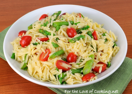 Lemon Orzo Salad with Asparagus and Tomatoes | For the Love of Cooking