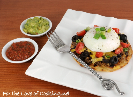 Mexican Tostada topped with a Poached Egg