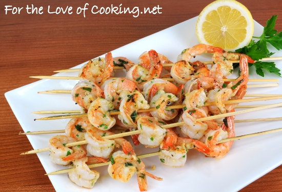 Garlic and Herb Shrimp Skewers | For the Love of Cooking