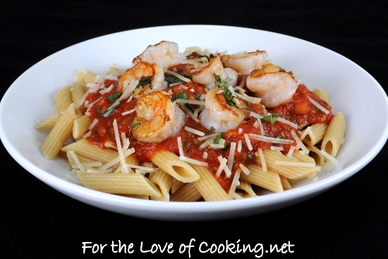 Garlic Basil Shrimp with Penne in a Spicy Basil Marinara