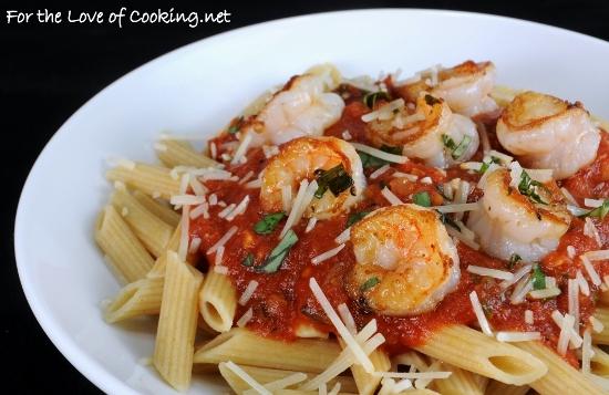 Garlic Basil Shrimp with Penne in a Spicy Basil Marinara