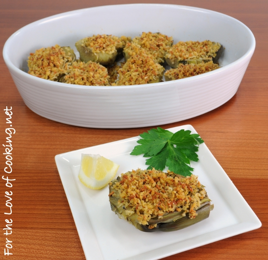 Baby Artichokes Stuffed with Panko, Parmesan, and Garlic