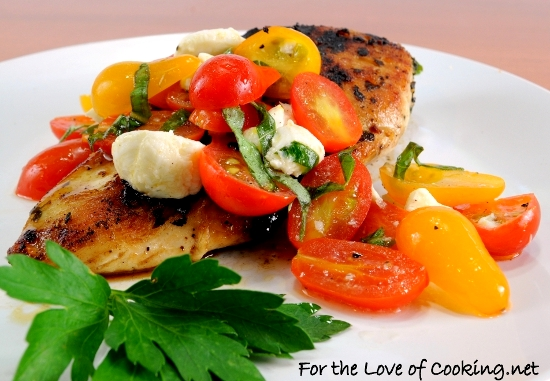 Garlic Basil Chicken topped with Caprese Salad