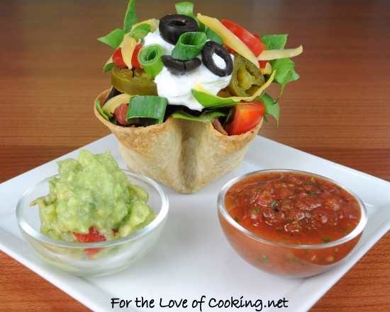 Mini Shredded Beef Taco Salads in Crispy Corn Tortilla Cups