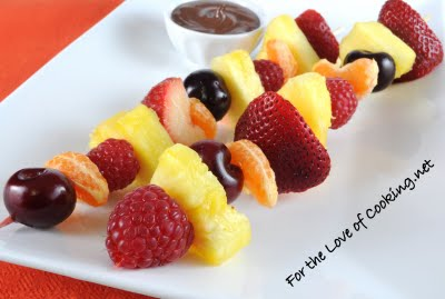 Fruit Kebabs with Melted Chocolate