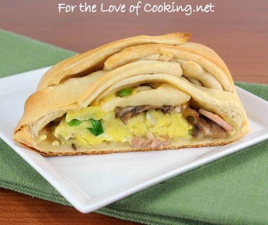 Breakfast Braid with Ham, Mushrooms, Cheddar, Green Onions, and Scrambled Eggs