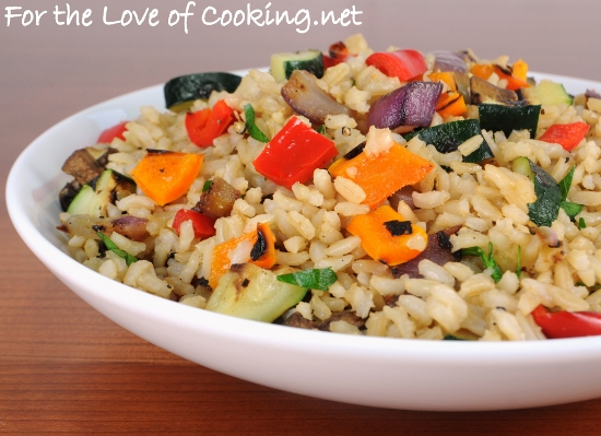 Brown Rice with Grilled Vegetables | For the Love of Cooking