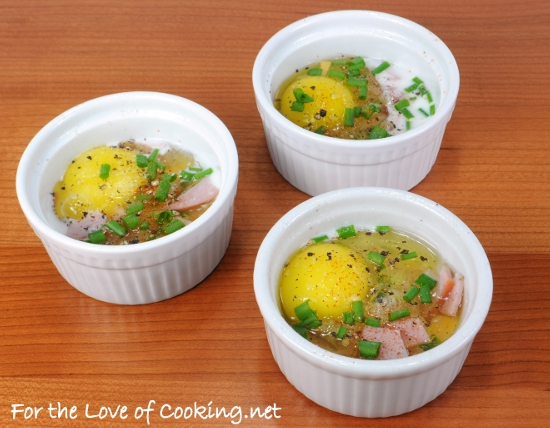Baked Eggs with Ham, Cheddar, and Chives | For the Love of Cooking