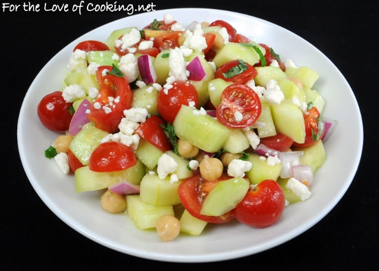 Cucumber and Tomato Salad with Garbanzo Beans and Basil