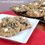 Blueberry and Cherry Oatmeal Cookies with White Chocolate Chips