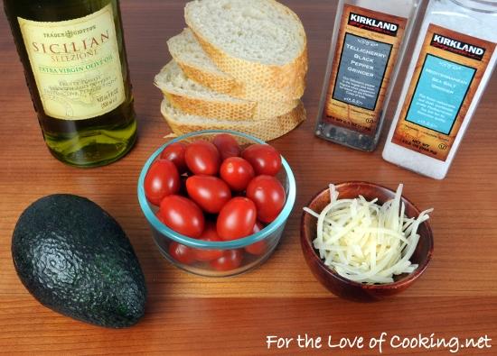 Sautéed Tomato, Avocado, and Parmesan Open Faced Sandwich