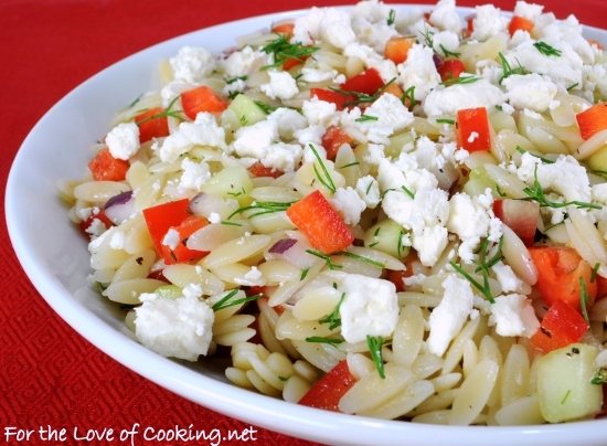 Lemony-Orzo Veggie Salad with Fresh Dill | For the Love of Cooking