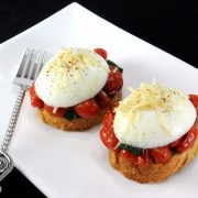 Toast with Sautéed Tomatoes, Spinach, and Poached Egg