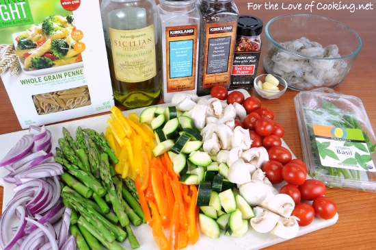 summer veggies with pasta and shrimp for the love of cooking