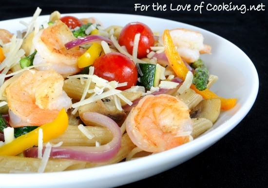 Summer Veggies with Pasta and Shrimp