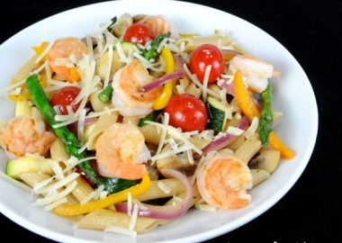 Summer Veggies with Pasta and Shrimp