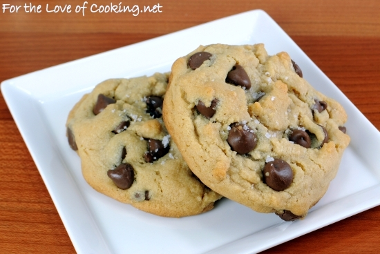 Peanut Butter Chocolate Chip Cookies Topped with Sea Salt