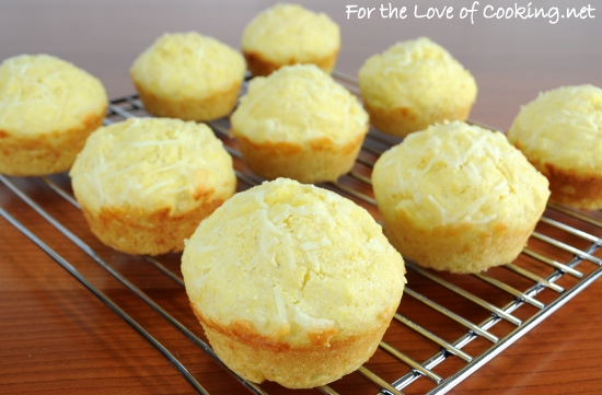 Parmesan-Corn Bread Muffins | For the Love of Cooking