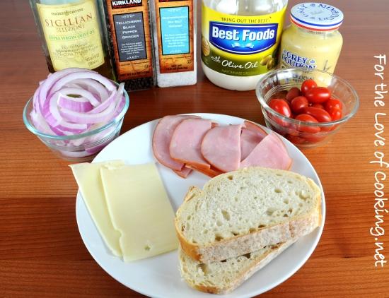 Ham, Swiss, Caramelized Onion, and Sautéed Tomato Open Faced Sandwich