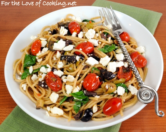 Spaghetti with Tapenade, Tomatoes, Spinach, Arugula, and Feta