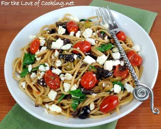 Spaghetti With Tapenade, Tomatoes, Spinach, Arugula, And Feta Recipes ...