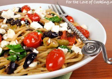 Spaghetti with Tapenade, Tomatoes, Spinach, Arugula, and Feta