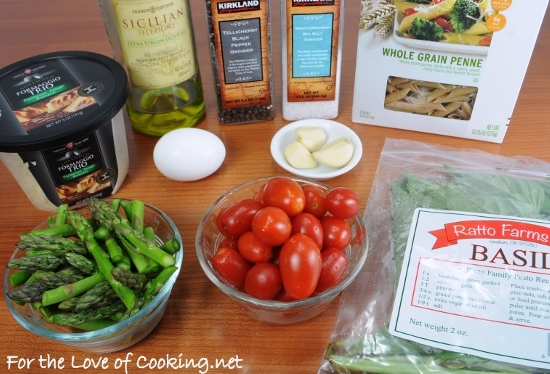 "Tomato and Asparagus ""Carbonara"" 