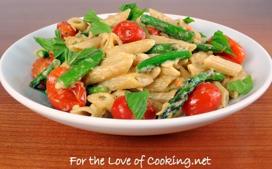 """Tomato and Asparagus """"Carbonara"""" 