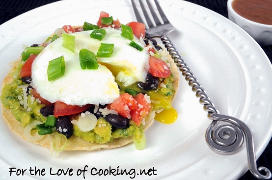 Breakfast Tostada with Guacamole, Black Beans, and Poached Egg