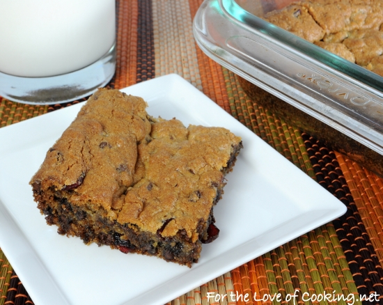 Chocolate-Cherry Blondies | For the Love of Cooking