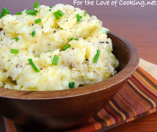 Smashed Potatoes with Sour Cream and Chives
