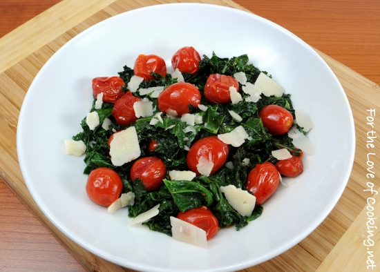 Sautéed Kale with Grape Tomatoes, Garlic, and Parmesan
