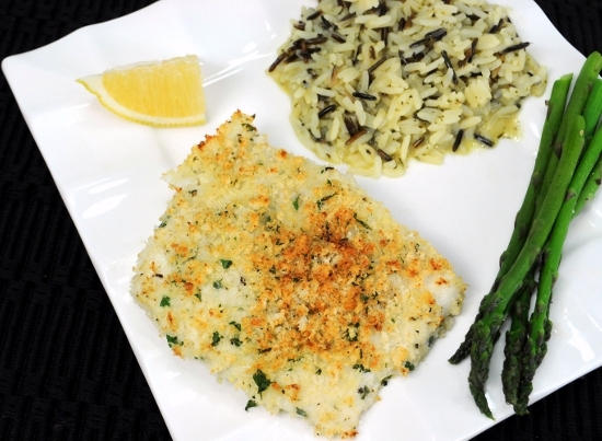 Parmesan-Panko Crusted Halibut