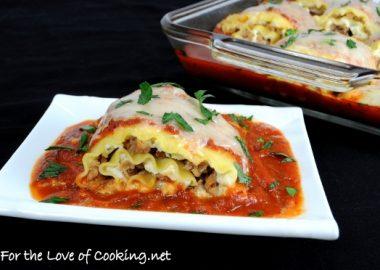 Turkey Italian Sausage and Ricotta Lasagna Roll Ups