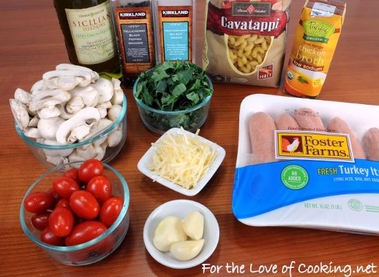 Cavatappi Pasta with Turkey Italian Sausage, Mushrooms, Tomatoes, and Kale