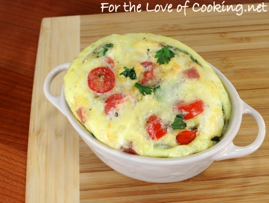 Mini Baked Frittata with Ham, Jalapeno, Sharp Cheddar, Tomatoes, and Cilantro