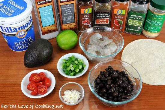 Shrimp, Black Bean, and Avocado Tostada