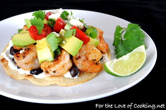 Shrimp, Black Bean, and Avocado Tostada | For the Love of ...