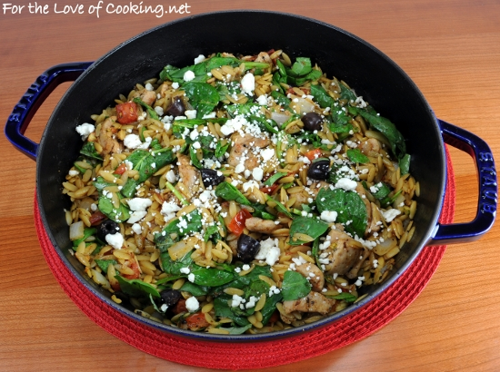 Chicken, Orzo, and Spinach Skillet with Kalamata Olives, Tomatoes, and Basil