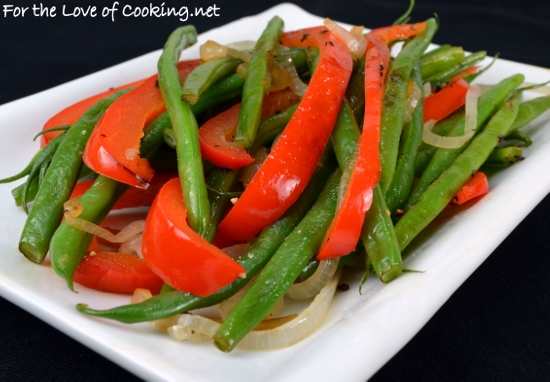 dipping sauce roasted green beans and red bell pepper with garlic and ...