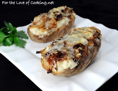 Caramelized Onion and Swiss Cheese Twice Baked Potatoes