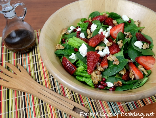 Spinach Salad with Strawberries, Candied Walnuts, Feta, and Pomegranate Seeds