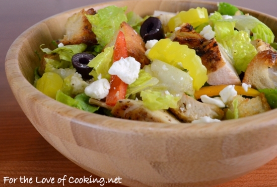 Greek Chicken Salad with Homemade Croutons