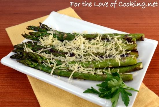 Pan Roasted Asparagus with Garlic and Parmesan