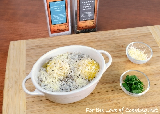 Baked Eggs with Mushrooms and Parmesan | For the Love of Cooking