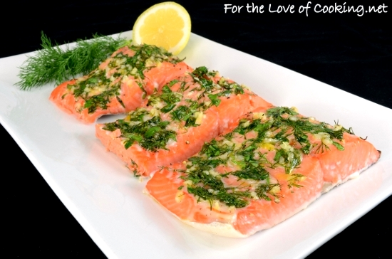 Slow Roasted Salmon with Garlic, Dill, Parsley,Tarragon and Lemon