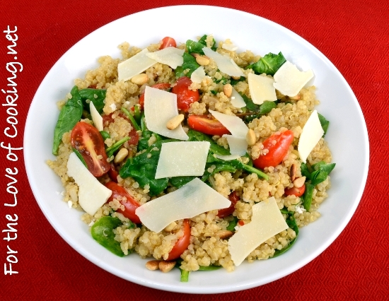 Quinoa with Roasted Garlic, Tomatoes, Spinach, and Pine Nuts