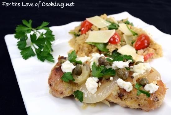 Greek Chicken Thighs with Lemon, Capers, and Feta